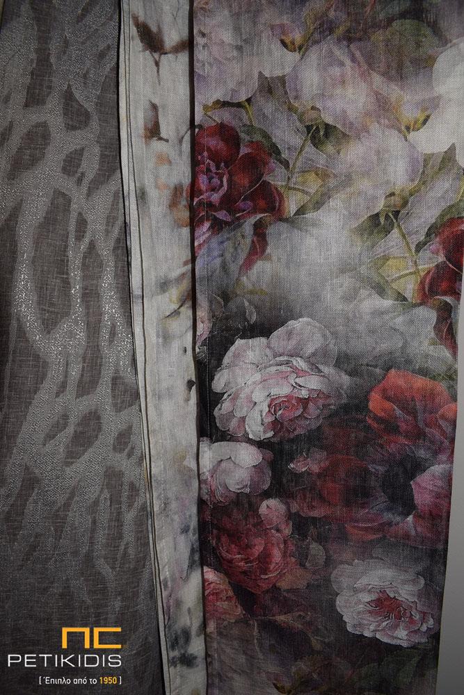 Κουρτίνα σε μπεζ λινό ύφασμα με λουλούδια σε διάφορους χρωματισμούς και κουρτίνα σε γκρι λινό με αφαιρετικά σχέδια (κωδ ΚΡΤ274)