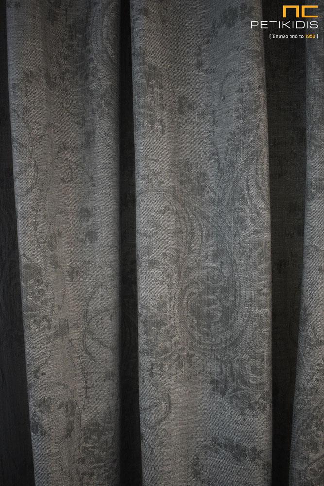Κουρτίνα από λινό ύφασμα με σχέδιο λαχούρι σε γκρι χρώμα (κωδ. ΚΡΤ280)