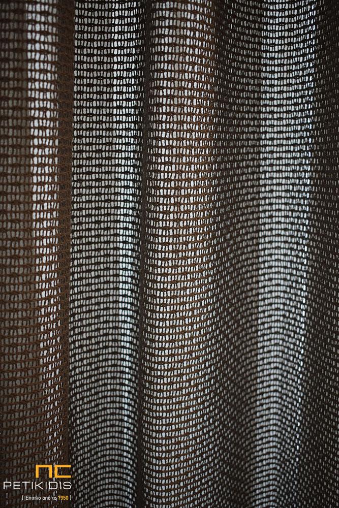 Κουρτίνα από λινό ύφασμα σε μπεζ απόχρωση και καφέ δίχτυ συνδυασμένο (κωδ. ΚΡΤ280)