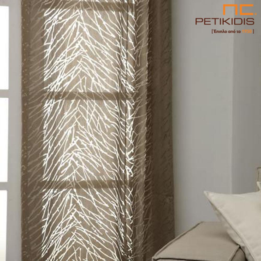 Κουρτίνα βουάλ σε ανάλαφρη υφή σε καφέ χρώμα και διαφάνειες σε ακανόνιστες γραμμές. (κωδ. ΚΡΤ258)
