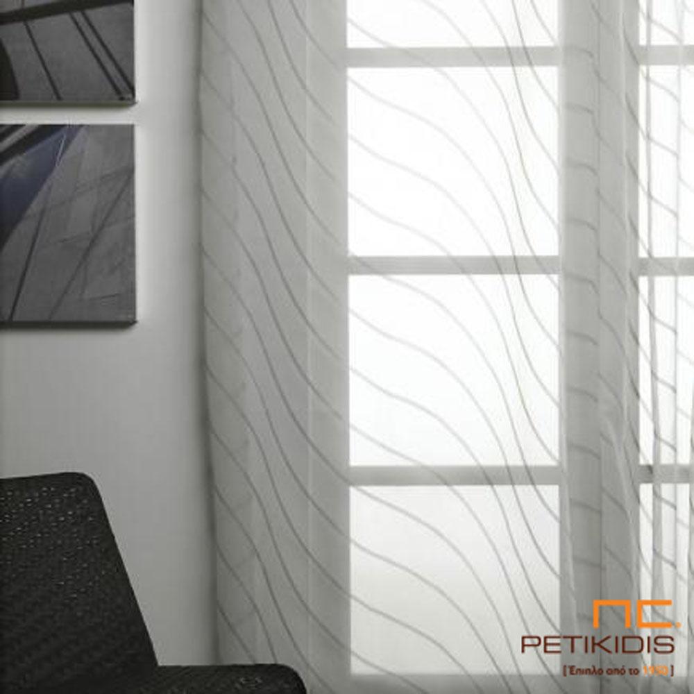 Κουρτίνα βουάλ σε λευκό με σχέδια σε γκρι & ακανόνιστες γραμμές. (κωδ. ΚΡΤ253)