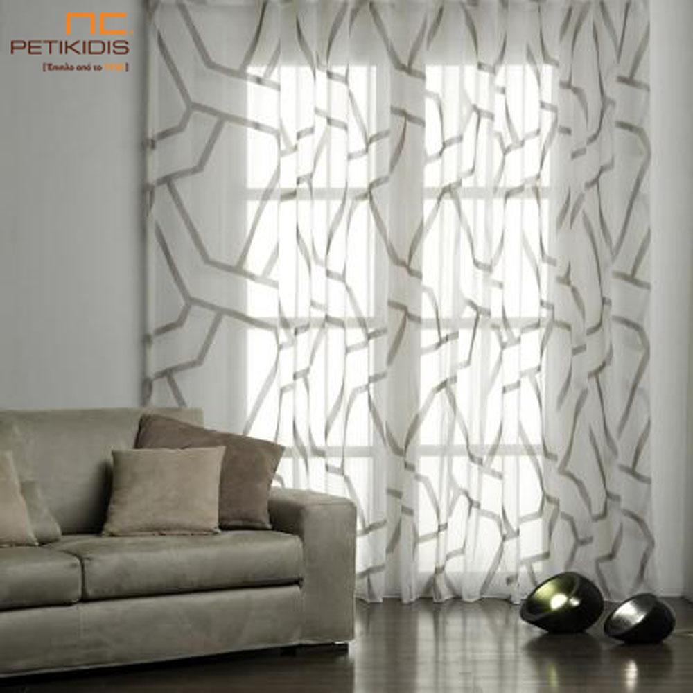 Κουρτίνα βουάλ ανάλαφρη υφή με έντονα γεωμετρικά σχήματα σε λευκό και καφέ χρώμα (κωδ. ΚΡΤ259)