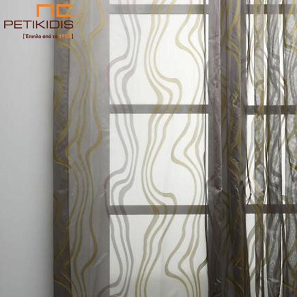 Κουρτίνα βουάλ σε μπεζ-καφέ χρωματισμούς και με σχέδια σε χρυσό (κωδ. ΚΡΤ254)