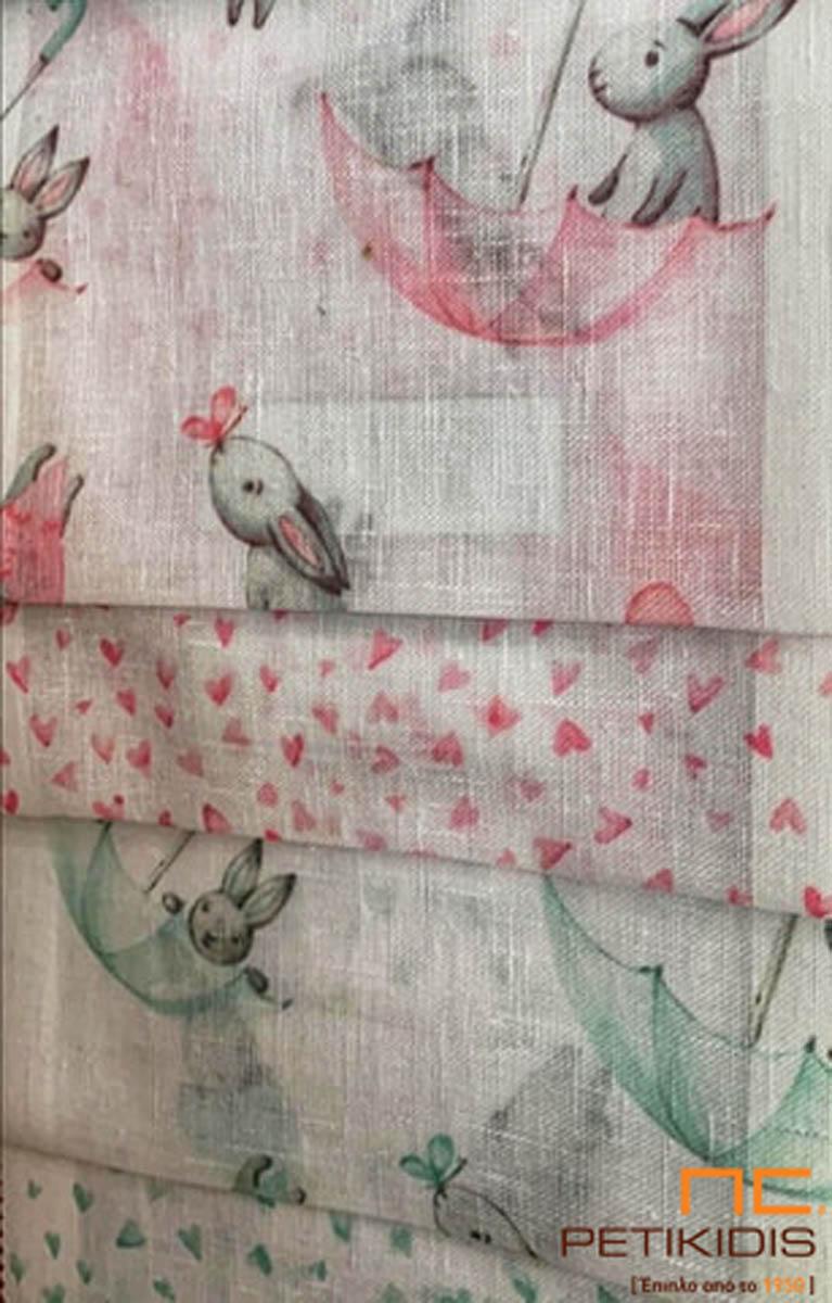 Κουρτίνα λεπτή παιδική σε ρομαντικό vintage ύφος με μοτίβο καρδούλες ή ζωάκια σε λευκό και ροζ συνδυασμό και σε λευκό με βεραμάν.