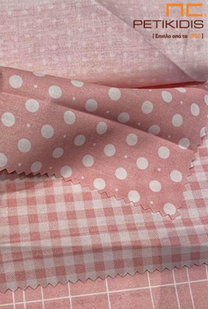 Παιδική λεπτή και πλαϊνή διακοσμητική κουρτίνα πουά και καρό σε λευκό με ροζ χρώμα.