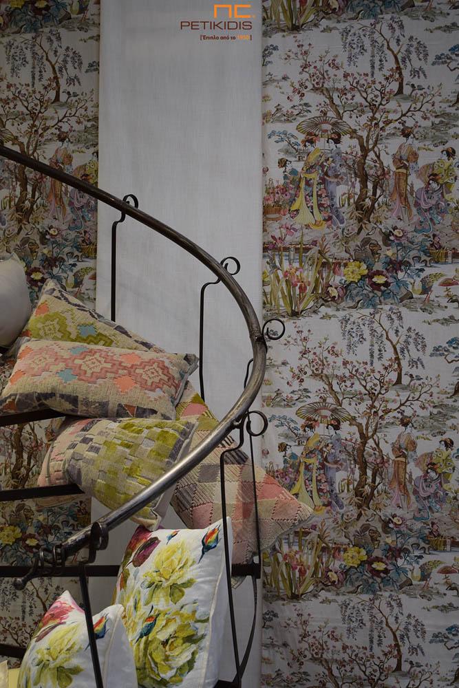 Κουρτίνα Πάνελ Εκρού με Παράσταση Γκέϊσες & Λουλούδια - Διακοσμητικά Μαξιλάρια (κωδ. ΚΡΤ286)