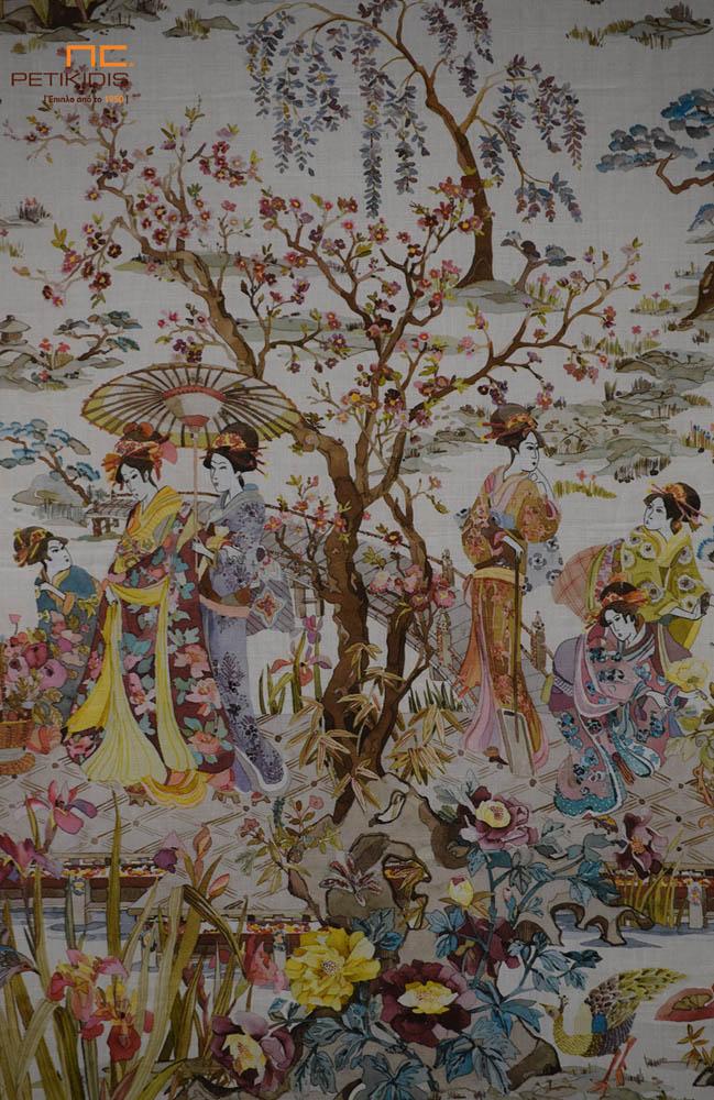 Κουρτίνα Πάνελ Εκρού με Παράσταση Γκέϊσες & Λουλούδια - Διακοσμητικά Μαξιλάρια