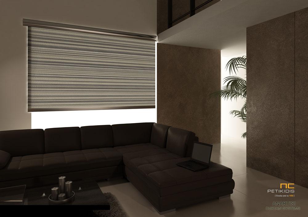 Κουρτίνα ρόλερ σε γκρι χρώμα με διαφανή ρίγα και μεταλλική μετόπη για οικιακή ή επαγγελματική χρήση (κωδ. ΚΡΤ271)