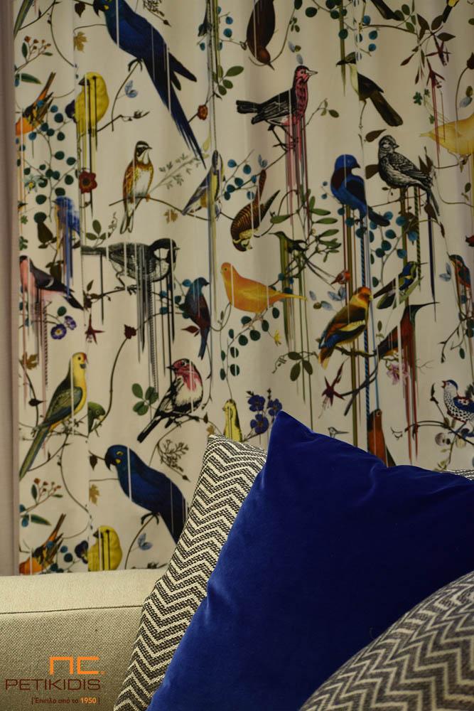 Κουρτίνα & Ύφασμα Επιπλώσεων Εκρού/Μπλε/Κίτρινο με Παραστάσεις από Ζώα