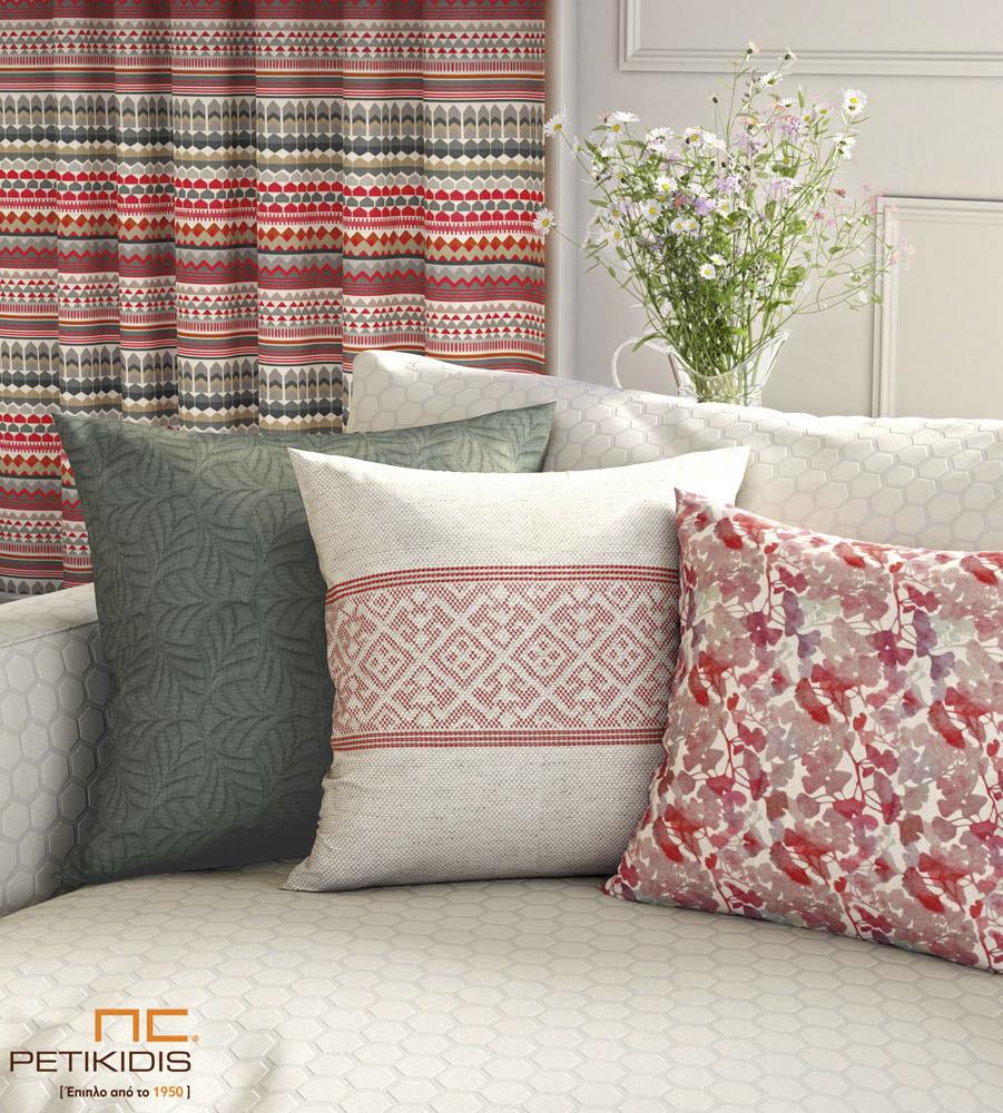 Υφάσματα επιπλώσεων και διακοσμητικών μαξιλαριών σε μεγάλη ποικιλία σχεδίων revert. Χρώματα σε εκρού, γκρι και ροζ. Πλαϊνές κουρτίνες σε γεωμετρικά σχέδια χρώματος εκρού, γκρι, κόκκινο και ρόζ. Φάρδος υφασμάτων 1,40μ. (κωδ. 268)