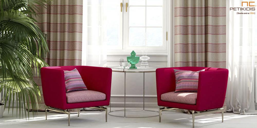 Υφάσματα επιπλώσεων και διακοσμητικών μαξιλαριών σε μεγάλη ποικιλία σχεδίων revert. Χρώματα σε κόκκινο φωτεινό φούξια. Πλαϊνές κουρτίνες σε ριγέ γεωμετρικά σχέδια χρώματος εκρού και φωτεινό κόκκινο. Φάρδος υφασμάτων 1,40μ. (κωδ. 266)