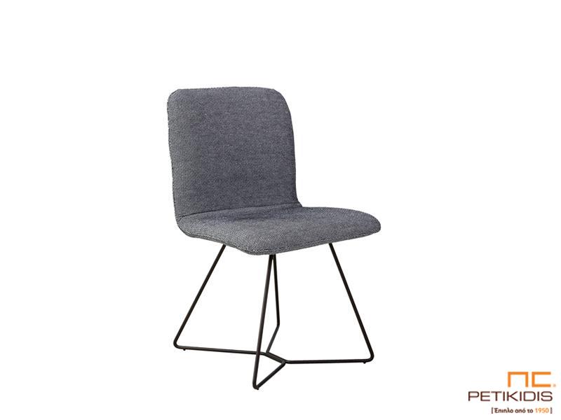 Καρέκλα Grain με μεταλλικό σκελετό ηλεκτροστατικής βαφής και γκρι ύφασμα αδιάβροχο και αλέκιαστο.