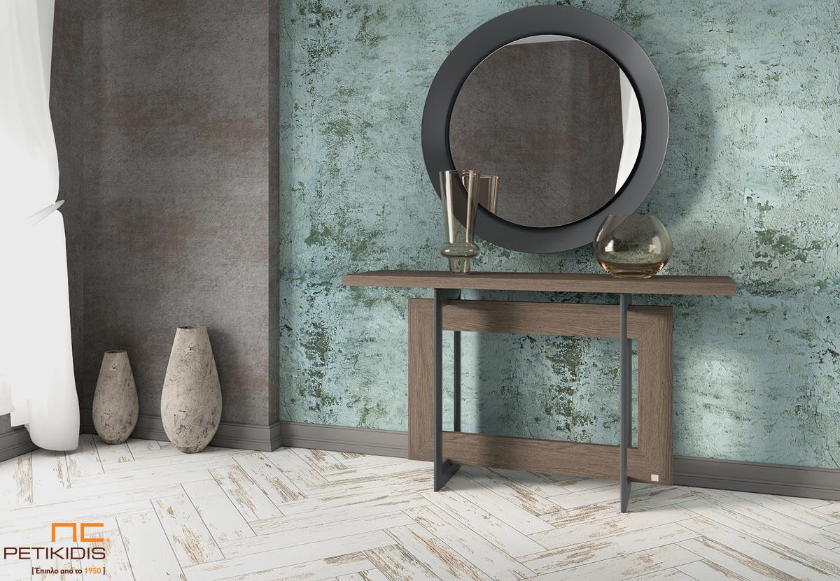 Κονσόλα Motivo από ξύλο δρυς και λεπτομέρειες από μέταλλο. Ο στρογγυλός καθρέπτης είναι με μεταλλική μίνιμαλ κορνίζα.