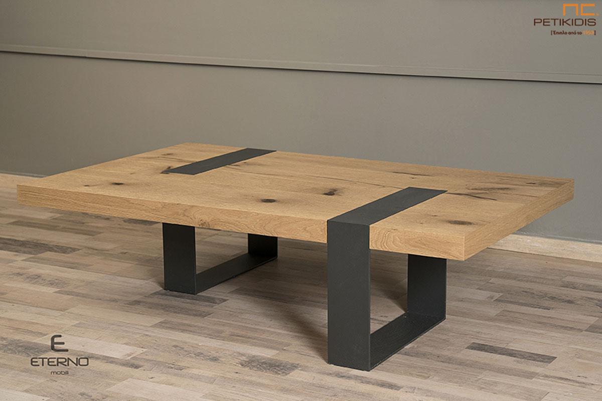 Τραπεζάκι σαλονιού Steel από ξύλο δρυς ρουστίκ και λεπτομέρειες από μέταλλο. Ιδανικό για μικρούς χώρους.