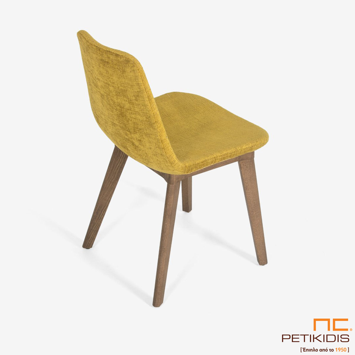 Καρέκλα Pilla A92 με μασίφ ξύλινη βάση και ύφασμα σε κίτρινο χρώμα αδιάβροχο και αλέκιαστο. Λεπτομέρεια.