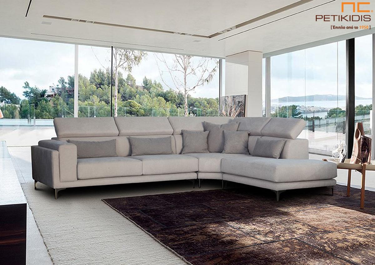 Σαλόνι γωνία Forest με φάλτσο στη γωνία για επιπλέον κάθισμα με άνεση. Διαθέτει μαξιλάρια με ανάκληση στην πλάτη για καλύτερη στήριξη και αναπαυτικό κάθισμα. Το ύφασμα είναι σε γκρι ανοιχτούς τόνους αδιάβροχο και αλέκιαστο.