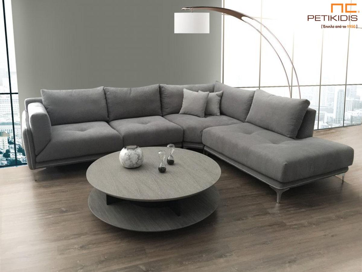 Σαλόνι γωνία Galaxy με φάλτσα γωνία για μεγαλύτερη άνεση στο κάθισμα. Το σαλόνι αποτελείται από τρία κομμάτια και ύφασμα σε γκρι τόνους αλέκιαστο και αδιάβροχο.